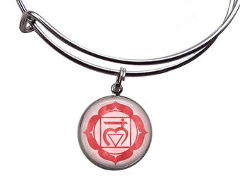 Root Chakra Charm Bangle | Chakra Bracelet Chakra Jewelry Muladhara Chakra Boho Bracelet Yoga Bracelet Meditation Bracelet Red Chakra