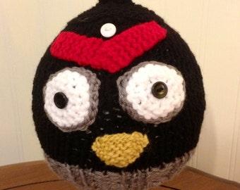 Knit Black Bird Hat - Toddler size knit hat