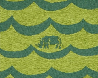 213168 lime green and dark green wave pattern rhino animal Jacquard echino fabric