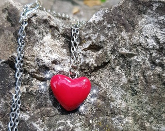 Necklace red heart made of polymer / fimo