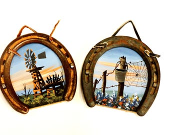 Jo Elliott Horseshoe Framed Paintings, Vintage Pair of Western Landscape Windmill Barbed Wire Fence, Cowboy Home Decor, itsyourcountry