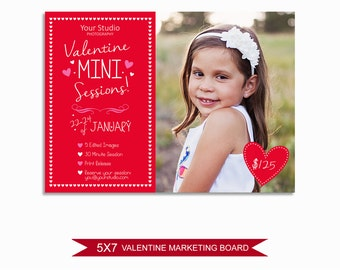 Valentine's Day Mini Session Marketing Board - Template for Photographers - Digital Photoshop Template - 5x7 Photography Design - VDMS05