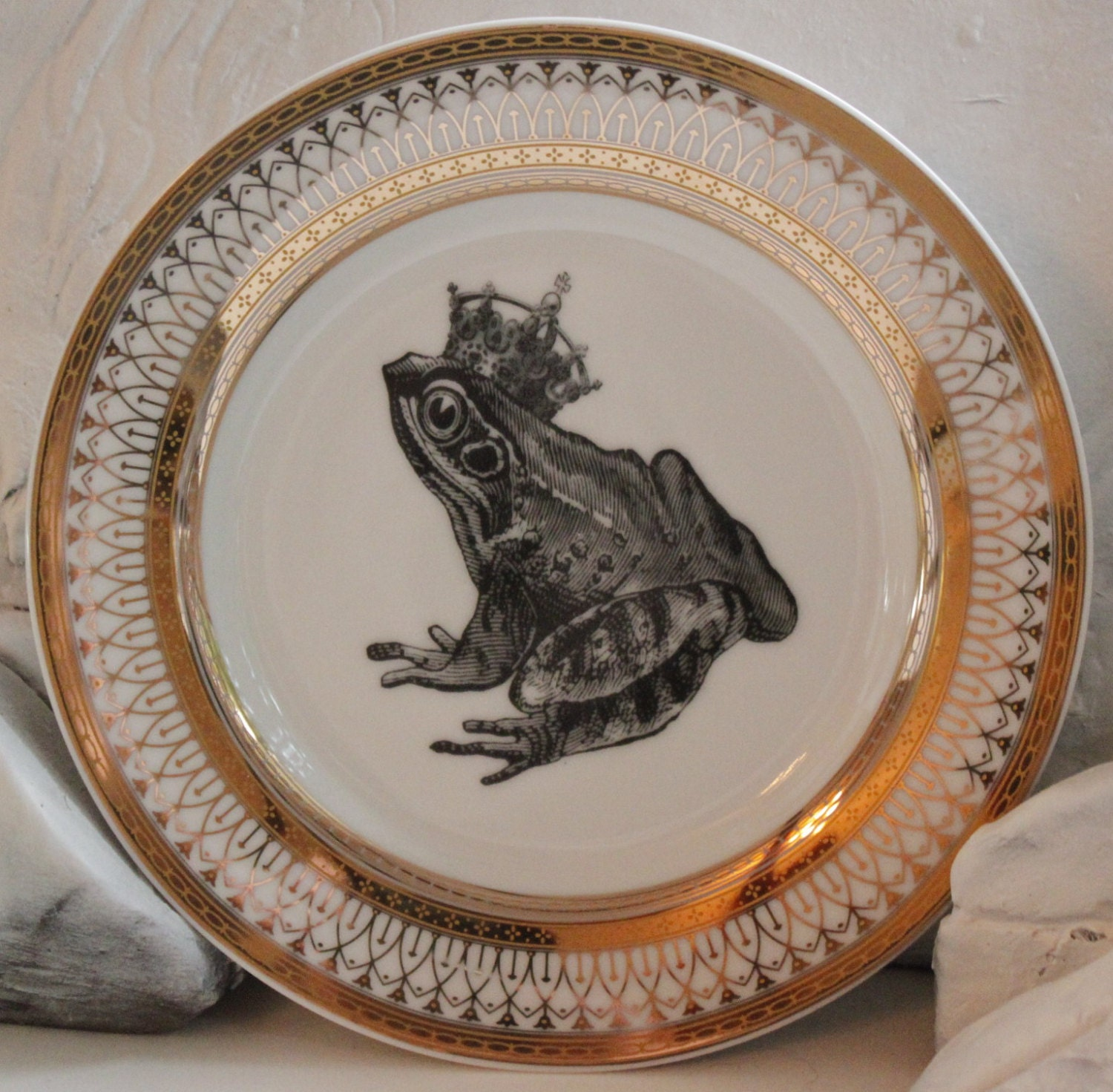🔎zoom & Foodsafe Frog Toad Gold Silver Dinnerware/Plates/Dishes