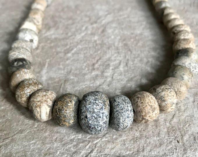 Fossilized Bone Beaded Necklace