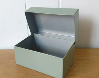 vintage gray green recipe file box