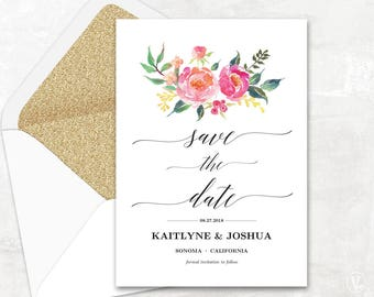 Lush Floral Save the Date Template, Printable Save the Date Card, Wedding Save the Date, Editable Text, 5x7, Lush Spring