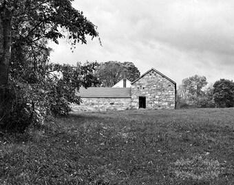 Farm Photo, Barn Photograph, Rustic Decor, Black and White, Landscape Photo, Stone Barn, Home Decor, Grey, Fine Art Photography, Wall Art