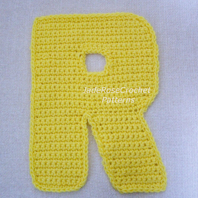 Crochet Letters Pattern R Alphabet Appliques and 3D Accent Pillows ...
