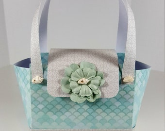 Gift Bag - Paper Purse - Gift Bag with Coordinating  Gift Tag Nautical Styled Paper Purse