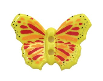 OVERSTOCK SALE 30% OFF: 3 pc. Yellow Butterfly 1 and 1/8 inch (28 mm) Dill Plastic Novelty Sewing Buttons