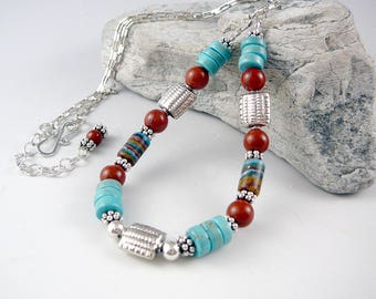 Silver Chain Necklace, Western Jewelry, Turquoise Bead Necklace, Rainbow Calsilica, Jasper Jewelry, Southwest Jewelry, Turquoise Jewelry