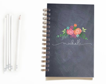 """Mother's Day Gift: Chalkboard Flowers Personalized Notebook // 8.5 x 5.5"""" notebook"""