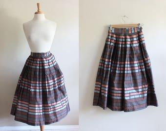 1950s Skirt / Vintage Pink & Blue Stripe Taffeta Full Skirt