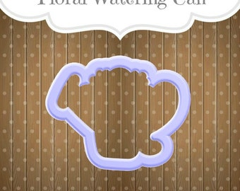 Floral Watering Can Cookie Cutter. Mother's Day Cookie Cutter.