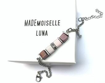 Purple and pale pink cubic pearl women's bracelet
