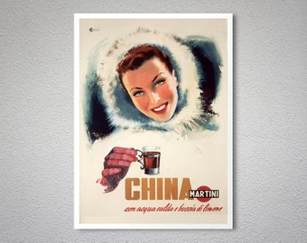 China Martini Vintage Food & Drink Poster - Poster Print, Sticker or Canvas Print / Gift Idea