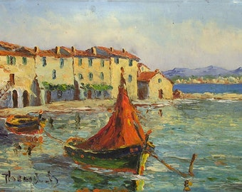 French Coast Painting - French Vintage Original Boats Painting - Shabby Chic French Decor - South of France Souvenir - French Cottage