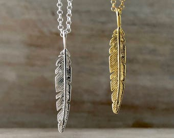 Gold Feather Necklace Mens Gift Valentines Day Gift Feather Jewelry Men Feather Pendant Remembrance Necklace In Memory Gift for Girlfriend