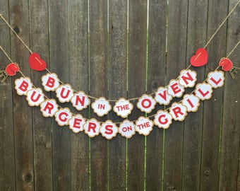 Bun In The Oven, Burgers On The Grill Gender Reveal Banner - Party - BBQ - Baby Announcement- BabyQ- Picnic
