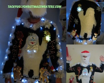 3-D Furry FuzzyThe Abominable Yeti Snowman  Light up Tacky Ugly Christmas Sweater Mens Womens Tons of lights Christmas Sweater Winner!