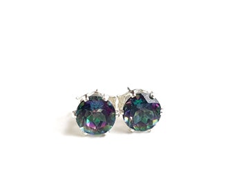 Mystic Topaz and Sterling Silver Stud Earrings