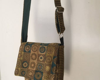 Mini-Messenger Bag Made with Upcycled Upholstery Fabric - Gold and Turquoise