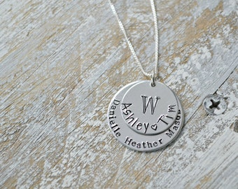custom family necklace, hand stamped family necklace, family name necklace, necklace with kids names, sterling silver, mother's day gift