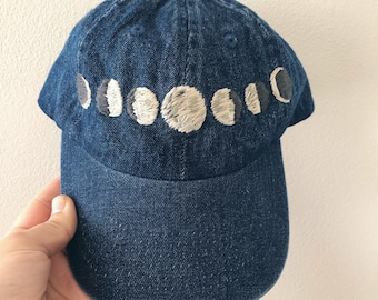 moon phases // embroidered phases of the moon / adult dark denim baseball hat