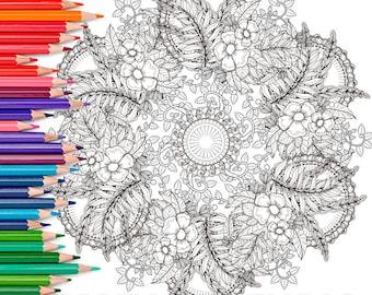 Elegant Mandala - Adult Coloring Page Print