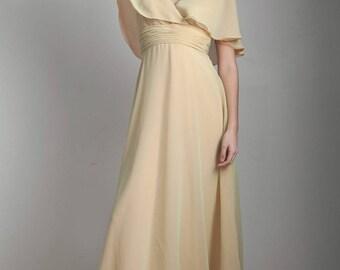 sheer layered cape dress vintage 70s ethereal boho bohemian empire party dress green orange SMALL S