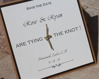 Rustic Wooden Save the Date -Tie the knot twine-Real wood-matching wooden stationary.2 weeks production.Set of 100(deposit)@4.00 ea.Woodland