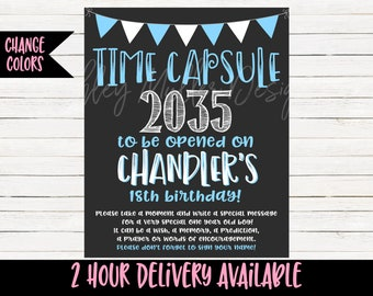 Boy Time Capsule - Blue Birthday Time Capsule - Blue Boy First Birthday - Time Capsule Sign - 1st bday Birthday Decor - Blue Birthday Sign