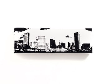 Baltimore Skyline Canvas (12 x 4 inches, White with Black) City Skyline Screen Print & Painting Home Decor, Baltimore Cityscape Art