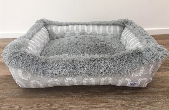 Lounger Dog Bed  - 'Winston winter' design in French Grey