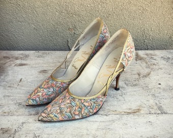 Vintage Size 8 AA (narrow) Pointed Toe High Heel Shoes in Brocade JC Pennys Brand