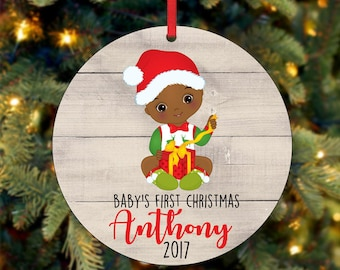 Baby's First Christmas Ornament, Personalized Christmas Ornament, Custom Ornament, African American Christmas Ornament, 2017 Ornament (0041)