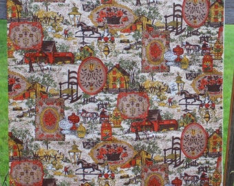 Fabric 1970s Print 1.5 Yards Farm Farming Horses Floral Orange Rust Olive Green Browns Sewing