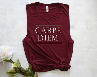 Carpe Diem muscle tank top, womens gym tank, womens workout top, exercise tank top, fitness tank top, cute gym tank top, lifting tank