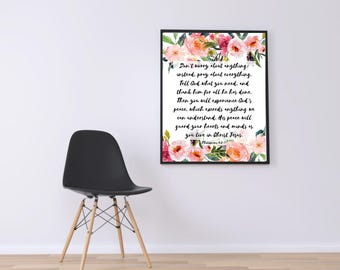 WATERCOLOR -Don't Worry About Anything-Philippians 9:6-7-Bible Verse- Wall Art