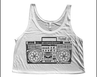 Women's Flower of Life Boombox Boxy Crop Tank Sacred Geometry Music Shirt