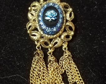 BEAUTIFUL Vintage Blue Rose Cameo Chain Dangle Brooch
