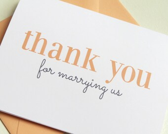 Wedding Card for Wedding Minister or Officiant On Your Wedding Day - Thank You For Marrying Us - V004