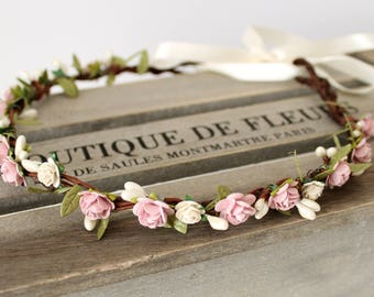 Flower Crown, Bridal Hair Accessories, Wedding Flower Crown, Blush Floral Crown, Flower Crown Wedding, Boho Wedding, Bridal Flower Crown