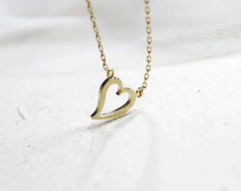 Tiny Gold open Heart Necklace- S2309-2