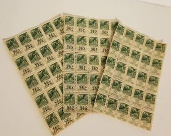 75 Town Pride savings trading stamps green color 3 sheets of 25 Vintage paper supplies ephemera  art scrap mixed media 1x