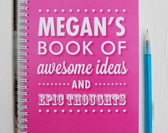 Awesome & Epic Personalised Notebook Typography Word Art Children's School