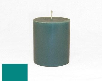 3 x 3.5 Sea Green Classic Hand-poured Unscented Pillar Candles Solid Color