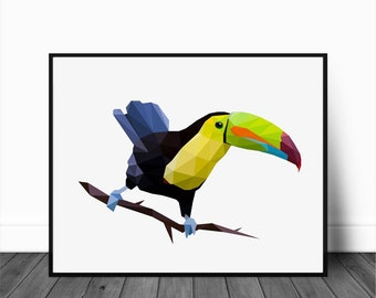 Toucan Print, Digital Download, Printable Art, Toucan Art, Bird Print