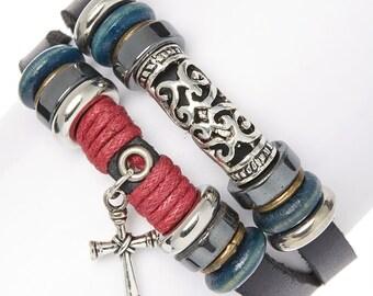 Black & Silvertone Cross Double-Band Bracelet
