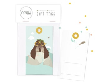 Gift tags - Walrus   10 pcs - 5 x 9 cm / 19.7 x 27.5 inches